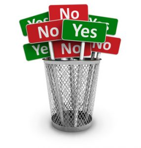 alt=metal basket with yes and no boards
