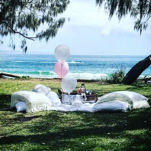 Balloons and Picnic by the sea